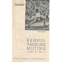 Rahvusvaheline miiting : 19. sept. 1937 Tallinna staadionil : [kava]