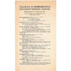 Tallinna ja ümbruskonna nägemisväärsed kohad : külastamisajad ja -tasud suvel 1937