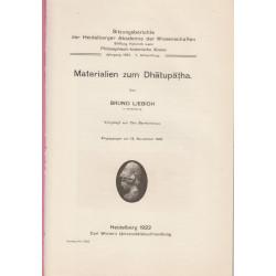 Materialien zum Dhatupatha